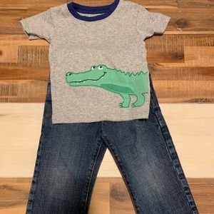 Alligator T-shirt and Gap jeans size 2T